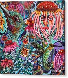 Coneflower And Hummingbird Acrylic Print