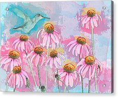 Acrylic Print featuring the photograph Coneflower Hummingbird Watercolor by Patti Deters