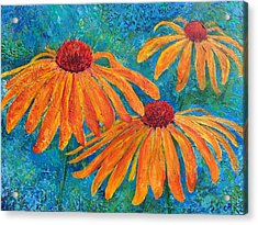 Acrylic Print featuring the painting Coneflower Trio by Chris Rice