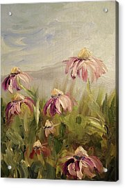 Acrylic Print featuring the painting Coneflowers by Donna Tuten