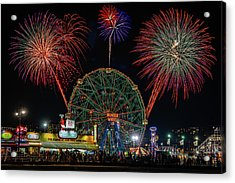 Coney Island At Night Fantasy Acrylic Print