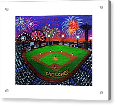 Coney Island Cyclones Fireworks Display Acrylic Print