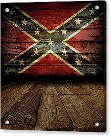 Confederate Flag On Wall Acrylic Print by Les Cunliffe