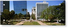 Confederate Monument With Buildings Acrylic Print by Panoramic Images