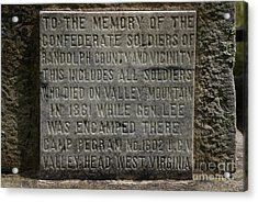 Confederate Solider Monument Acrylic Print by Randy Bodkins