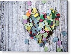 Confetti Heart Acrylic Print by Nailia Schwarz