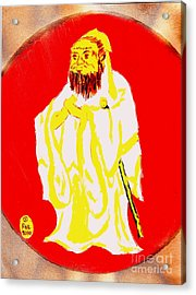 Confucius Wisdom Bright Red Acrylic Print by Richard W Linford
