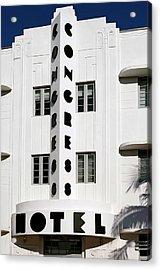 Congress Hotel. Miami. Fl. Usa Acrylic Print by Juan Carlos Ferro Duque