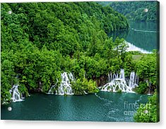 Connected By Waterfalls - Plitvice Lakes National Park, Croatia Acrylic Print