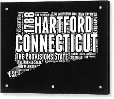 Connecticut Black And White Word Cloud Map Acrylic Print by Naxart Studio