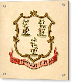 Connecticut Historical Coat Of Arms Circa 1876 Acrylic Print by Serge Averbukh