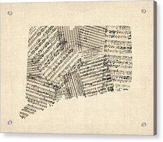 Connecticut Sheet Music Map Acrylic Print by Michael Tompsett