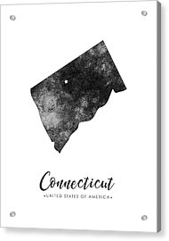 Connecticut State Map Art - Grunge Silhouette Acrylic Print