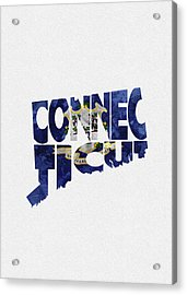 Connecticut Typographic Map Flag Acrylic Print