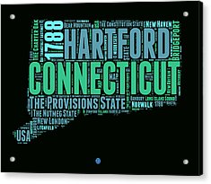 Connecticut Word Cloud Map 1 Acrylic Print by Naxart Studio