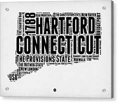 Connecticut Word Cloud Map 2 Acrylic Print by Naxart Studio