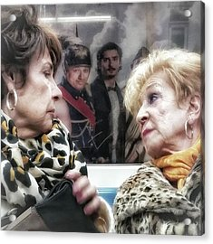 Connection #women #underground #metro Acrylic Print by Rafa Rivas