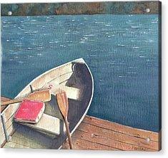 Connetquot Park Row Boat Acrylic Print by Sheryl Heatherly Hawkins