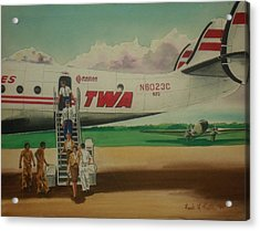 Connie Crew Deplaning At Columbus Acrylic Print by Frank Hunter