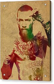 Conor Mcgregor Ufc Fighter Mma Watercolor Portrait On Old Canvas Acrylic Print by Design Turnpike