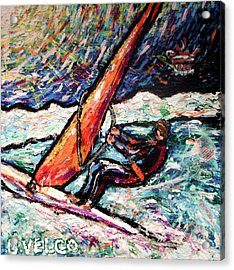 Conscience Surfer Acrylic Print by Dennis Velco