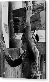 Acrylic Print featuring the photograph Construction Labourer - Bw by Werner Padarin