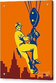 Construction Worker Acrylic Print by Aloysius Patrimonio