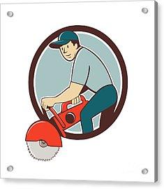 Construction Worker Concrete Saw Cutter Cartoon Acrylic Print