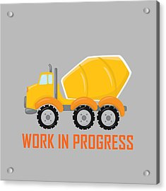 Construction Zone - Concrete Truck Work In Progress Gifts - Grey Background Acrylic Print