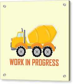 Construction Zone - Concrete Truck Work In Progress Gifts - Yellow Background Acrylic Print