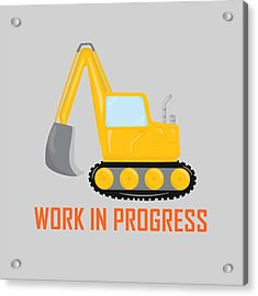 Construction Zone - Excavator Work In Progress Gifts - Grey Background Acrylic Print