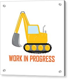 Construction Zone - Excavator Work In Progress Gifts - White Background Acrylic Print
