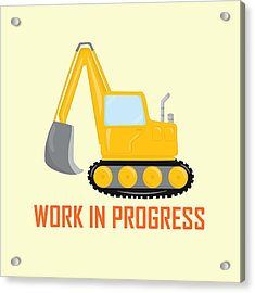 Construction Zone - Excavator Work In Progress Gifts - Yellow Background Acrylic Print