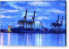 Container Cargo Freight Ship With Working Crane Bridge In Shipya Acrylic Print