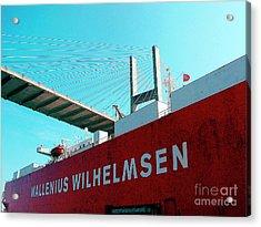 Container Ship Savannah Georgia Under Bridge Acrylic Print