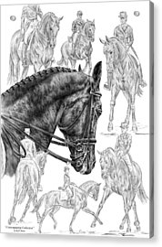 Contemplating Collection - Dressage Horse Drawing Acrylic Print by Kelli Swan