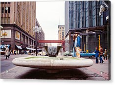 Contemplating The Fountain At 8th And Nicollet. Acrylic Print