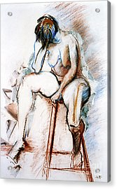 Contemplation - Nude On A Stool Acrylic Print
