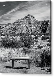 Contemplation Bench Bw Acrylic Print