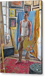 Contemplation In The Studio Acrylic Print by David Tanner