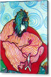 Acrylic Print featuring the drawing Contemplation by Rae Chichilnitsky