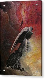 Acrylic Print featuring the painting Contemplative Angel by Mary Ellen Frazee