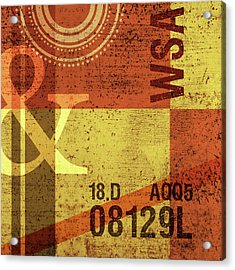 Contemporary Abstract Industrial Art - Distressed Metal - Olive Yellow And Orange Acrylic Print