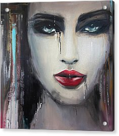 Contemporary Abstract Portrait Painting 181 I Acrylic Print by Mawra Tahreem