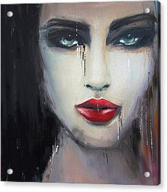 Contemporary Abstract Portrait Painting 181 II Acrylic Print by Mawra Tahreem