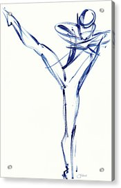 Contemporary Ballet Dancer, Blue Acrylic Print