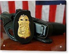 Contemporary Fbi Badge And Gun Acrylic Print by Everett