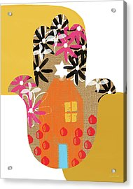 Contemporary Hamsa With House- Art By Linda Woods Acrylic Print by Linda Woods