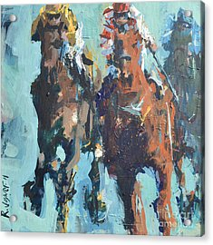 Contemporary Horse Racing Painting Acrylic Print