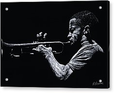 Contemporary Jazz Trumpeter Acrylic Print by Richard Young